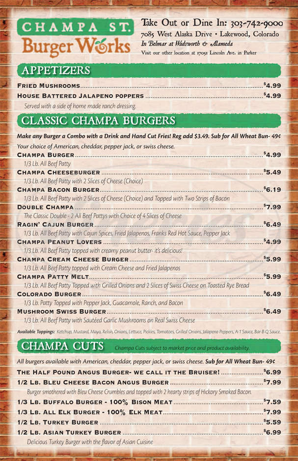 menu for Champa St. Burger Works