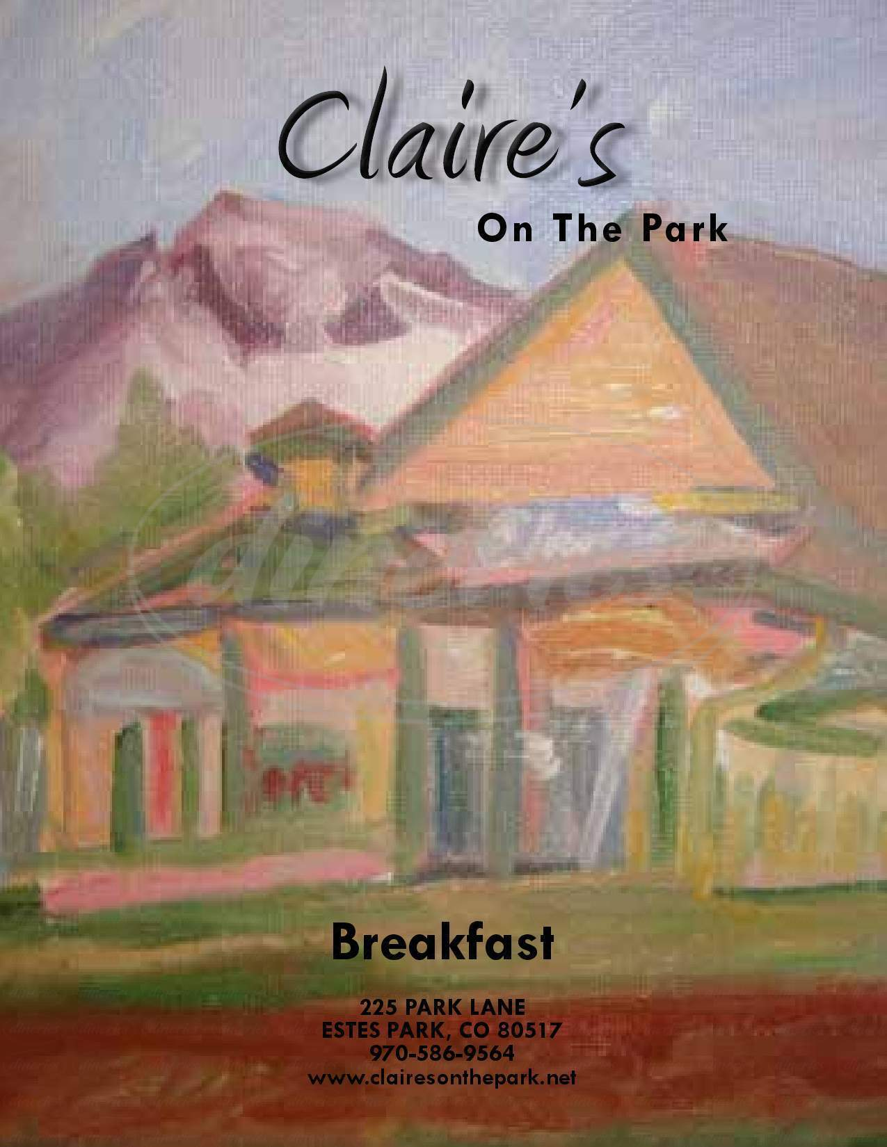 menu for Claire's on the Park
