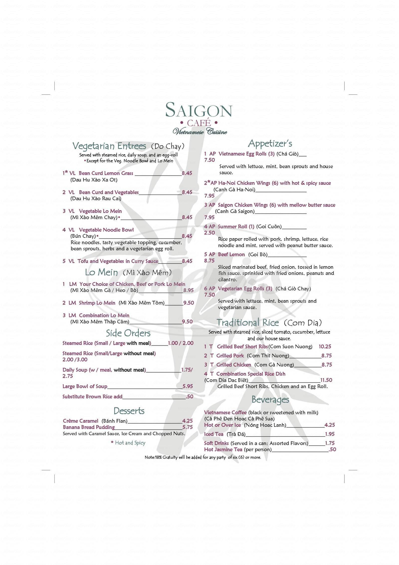 menu for Saigon Cafe