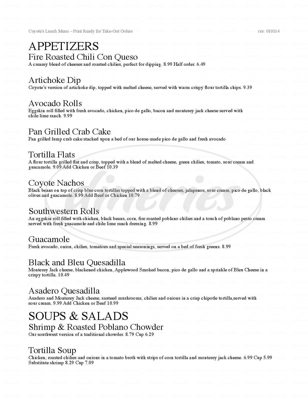 menu for Coyote's Southwestern Grill