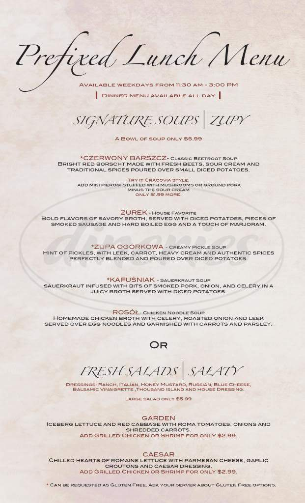 menu for Cracovia Restaurant & Bar