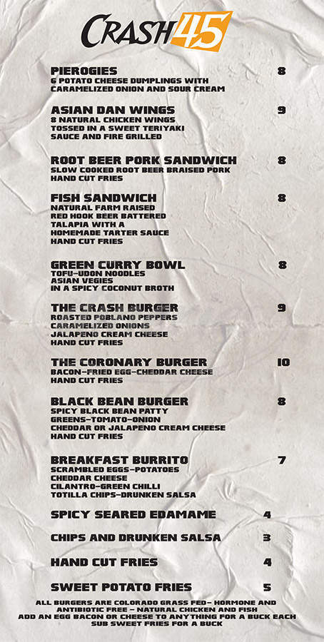 menu for Crash 45