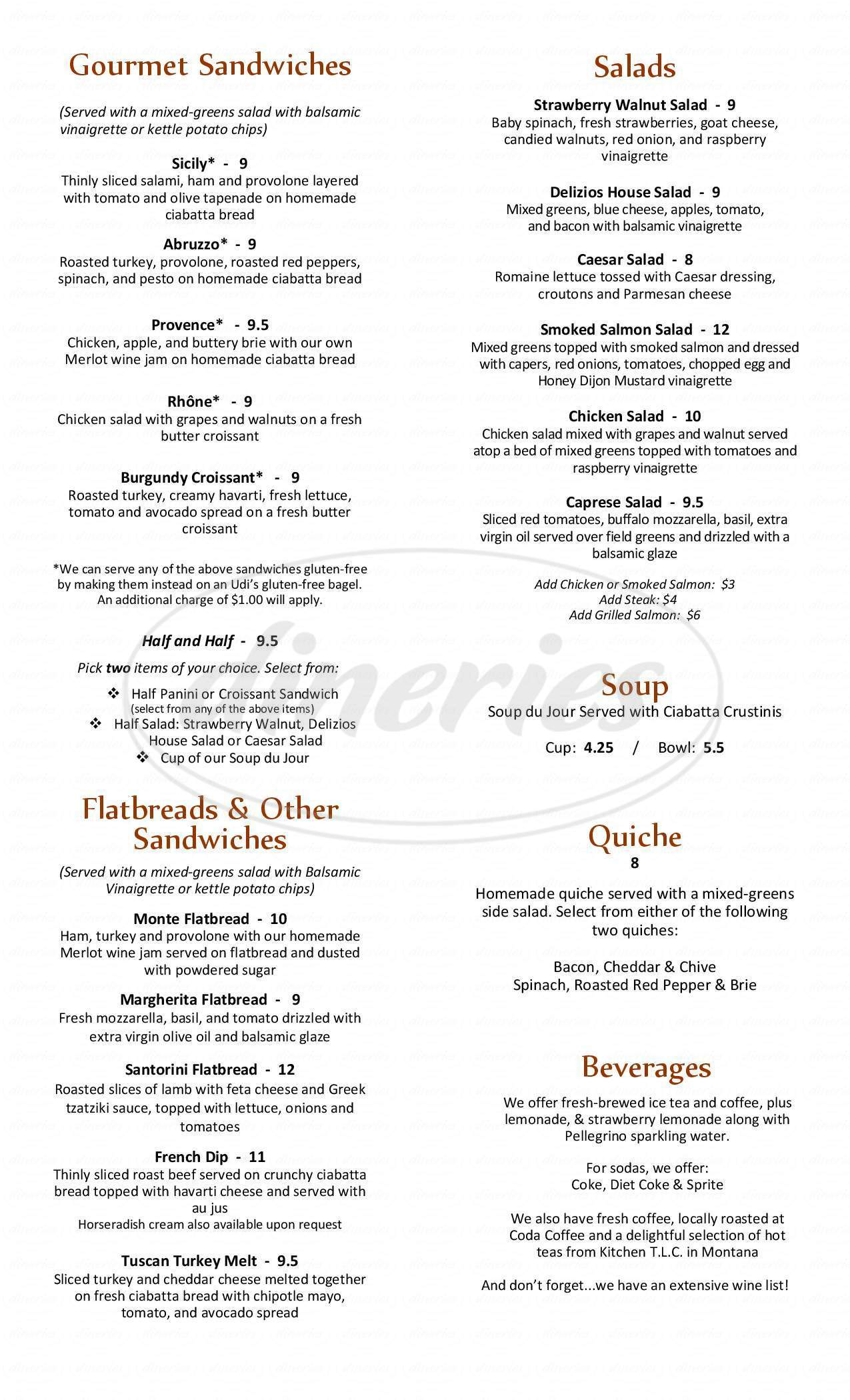 menu for Delizios