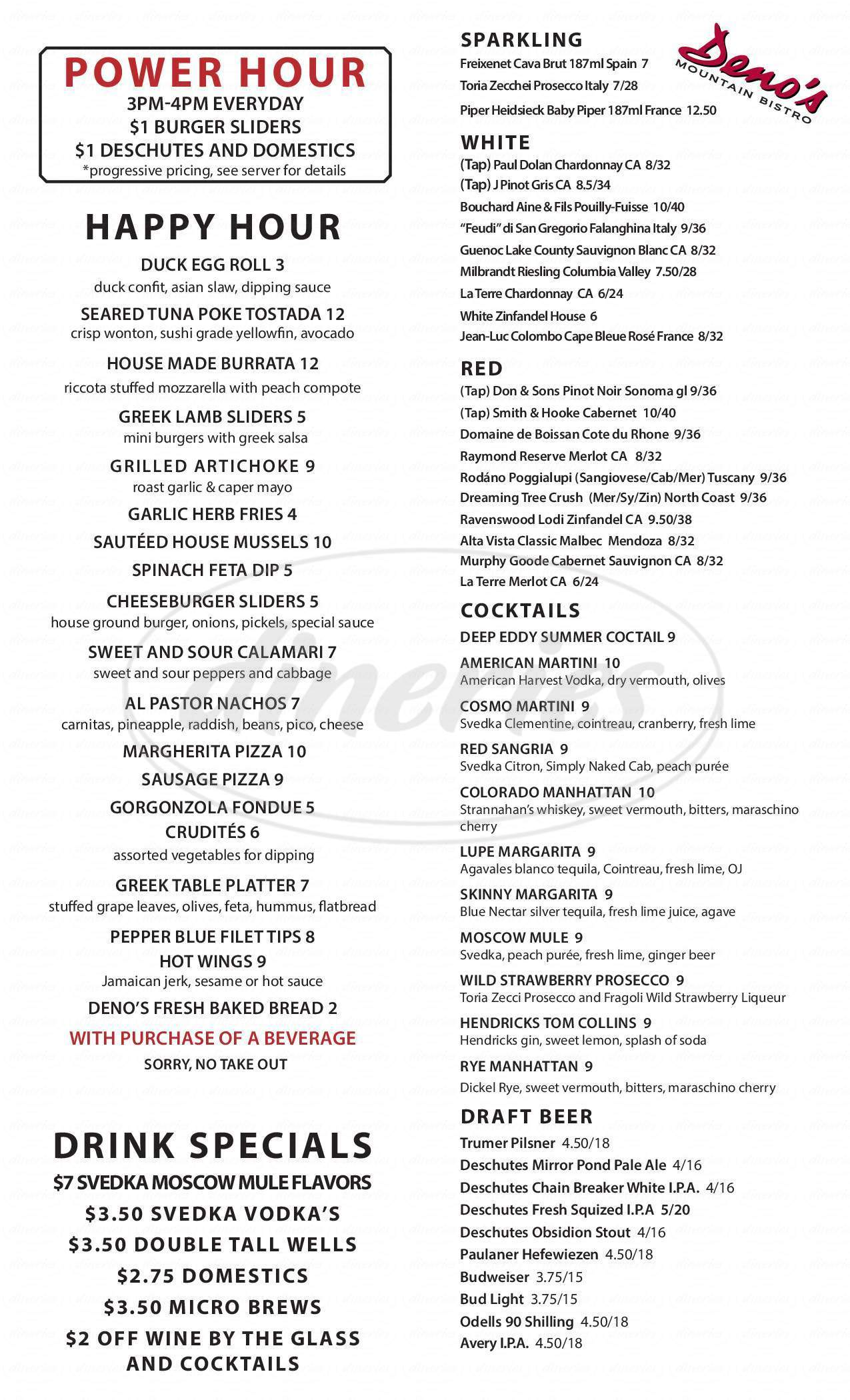 menu for Deno's Mountain Bistro