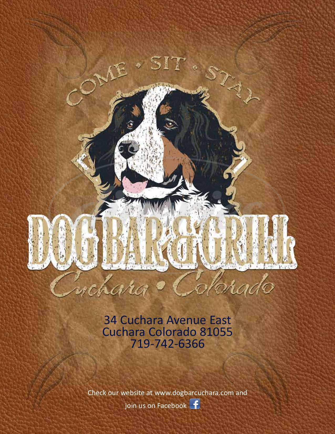 menu for The Dog Bar