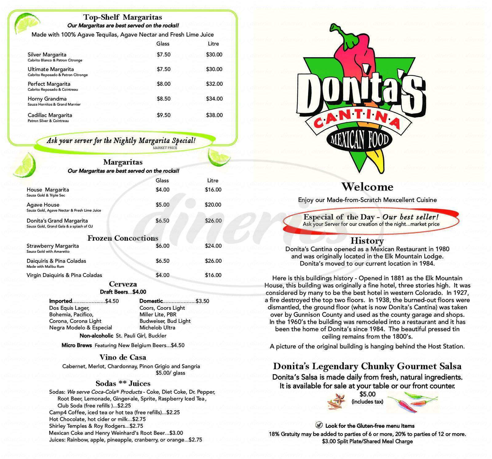 menu for Donita's Cantina