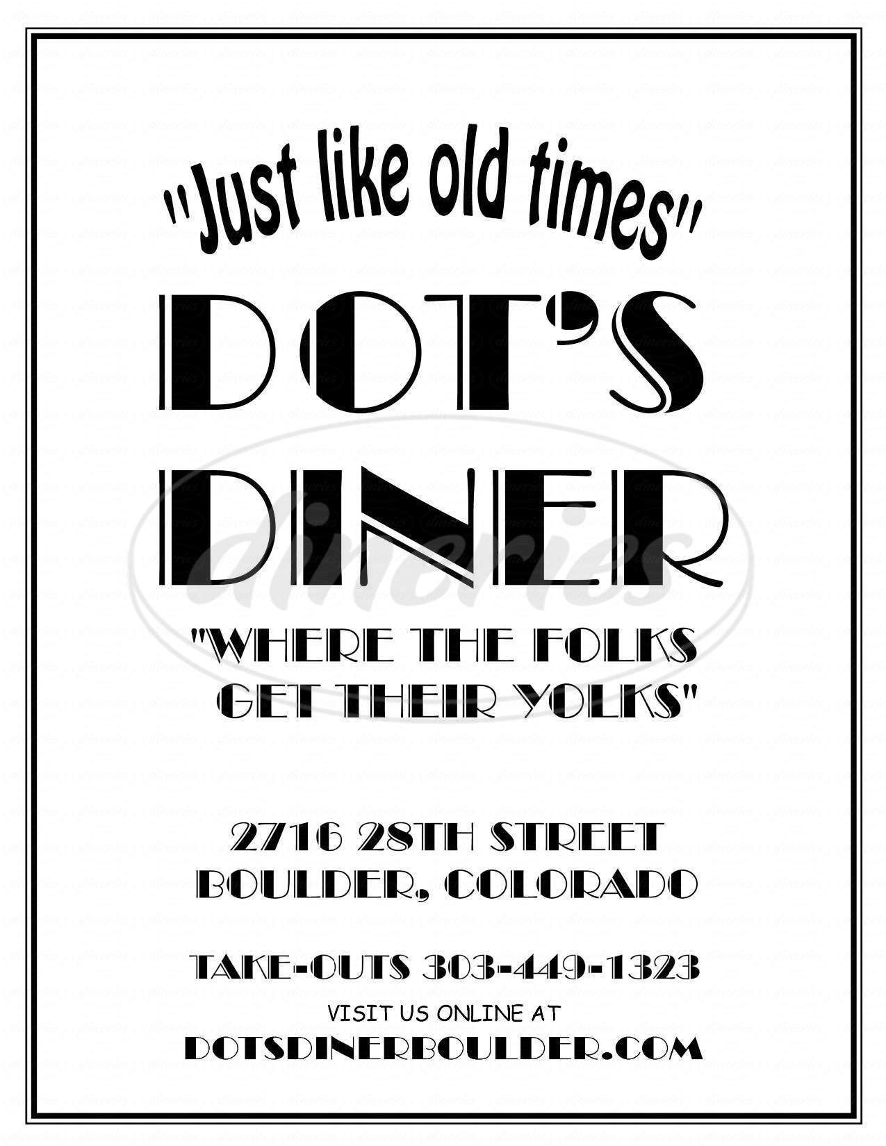 menu for Dot's Diner