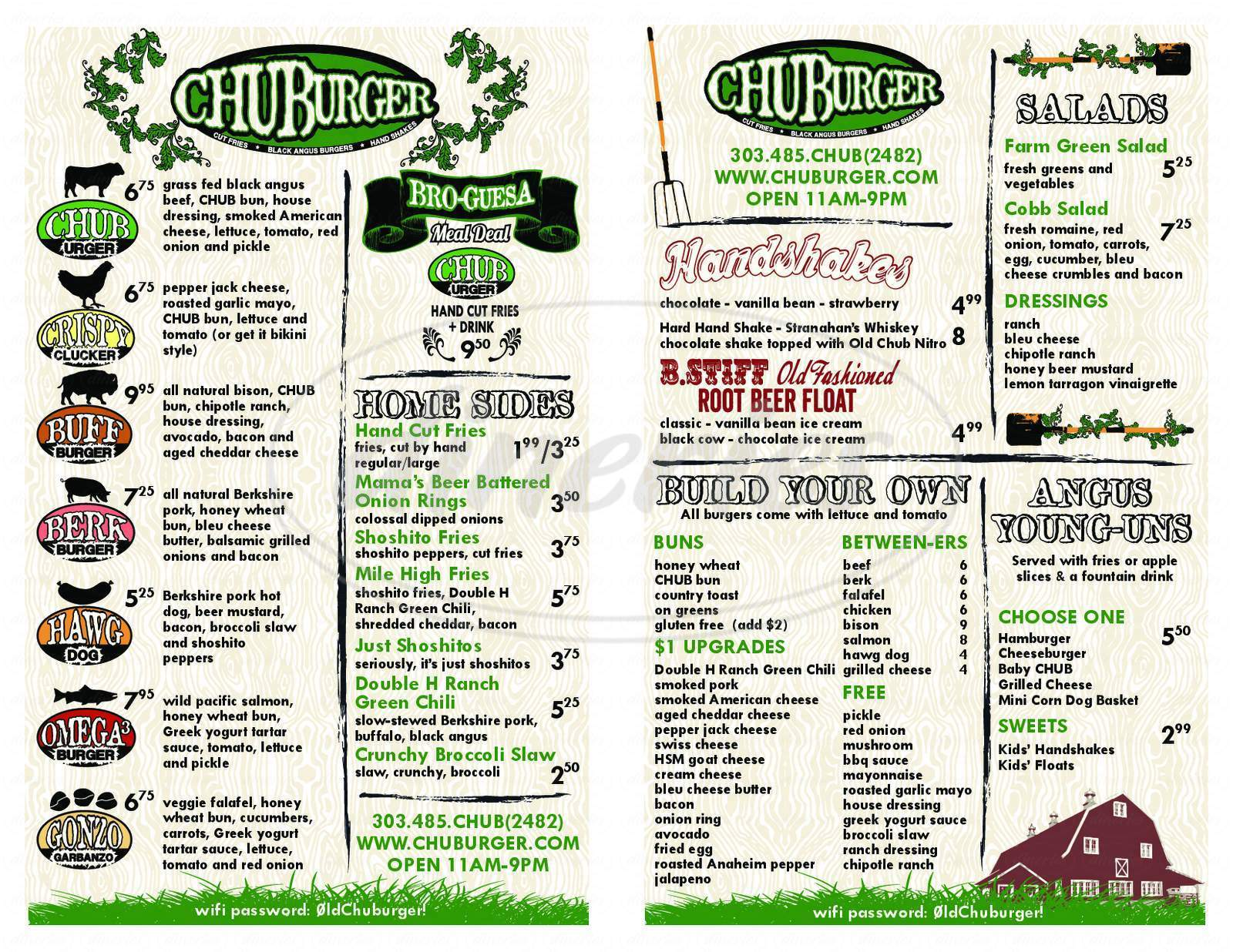 menu for CHUBurger