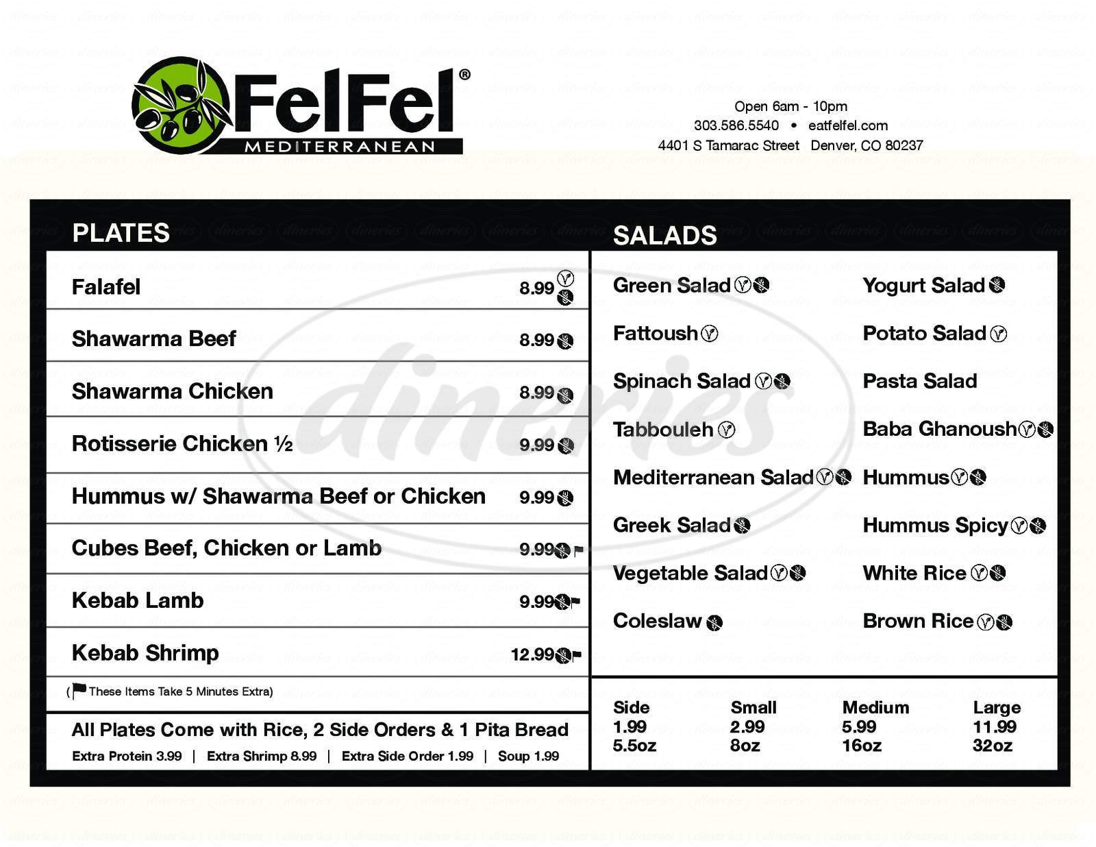 menu for FelFel Mediterranean
