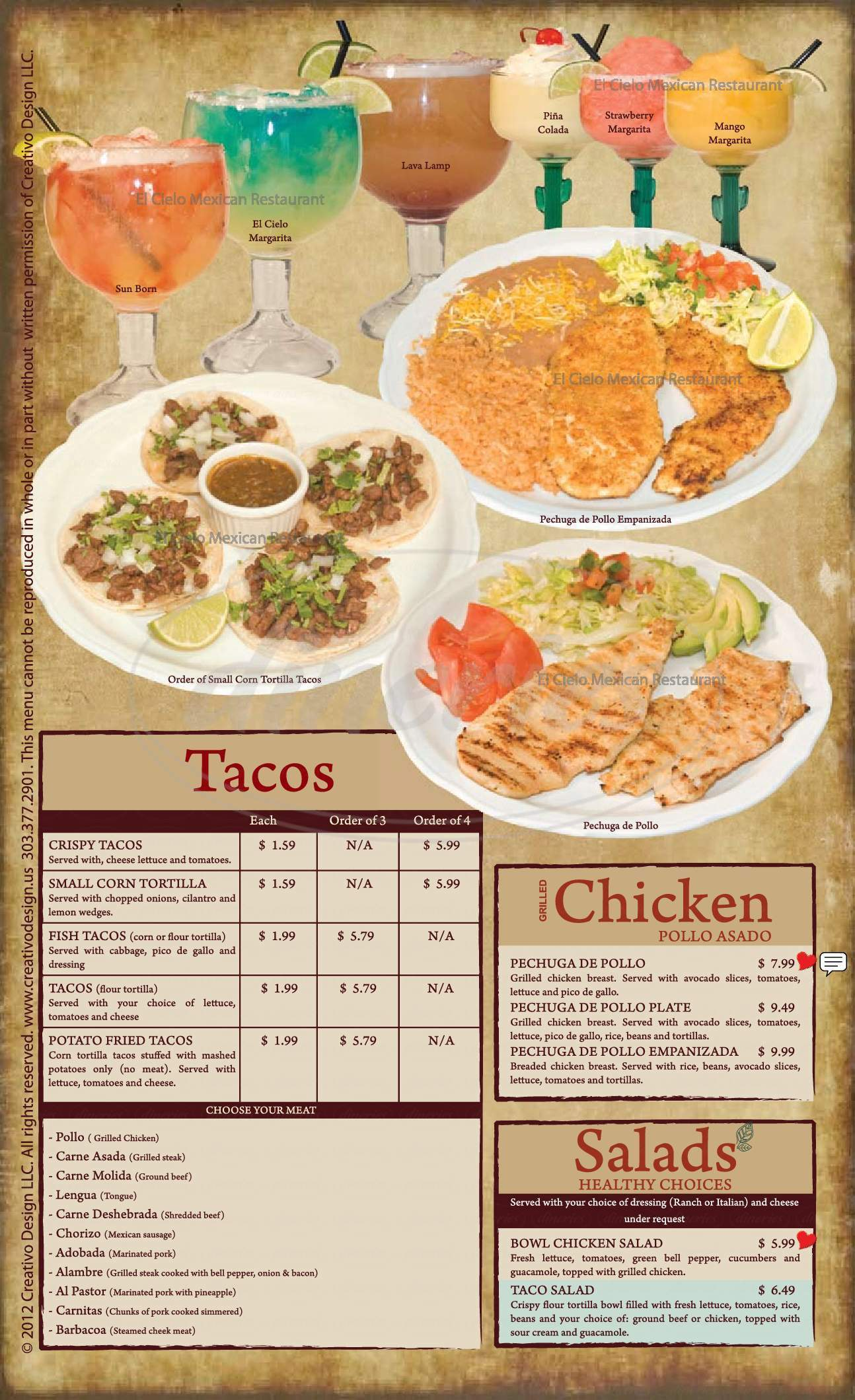 menu for El Cielo II Mexican Restaurant