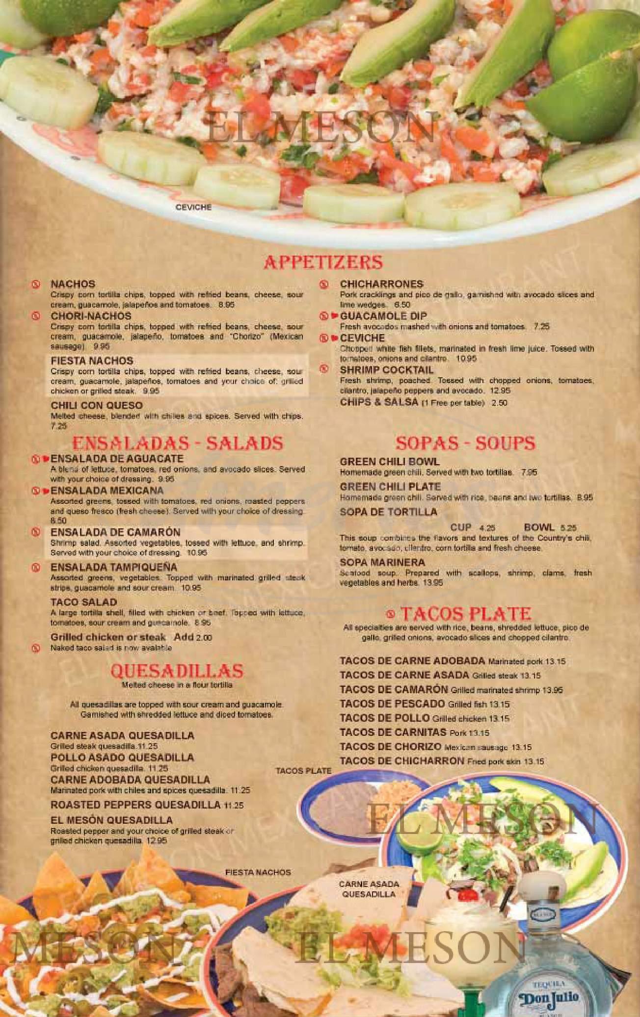 menu for El Meson