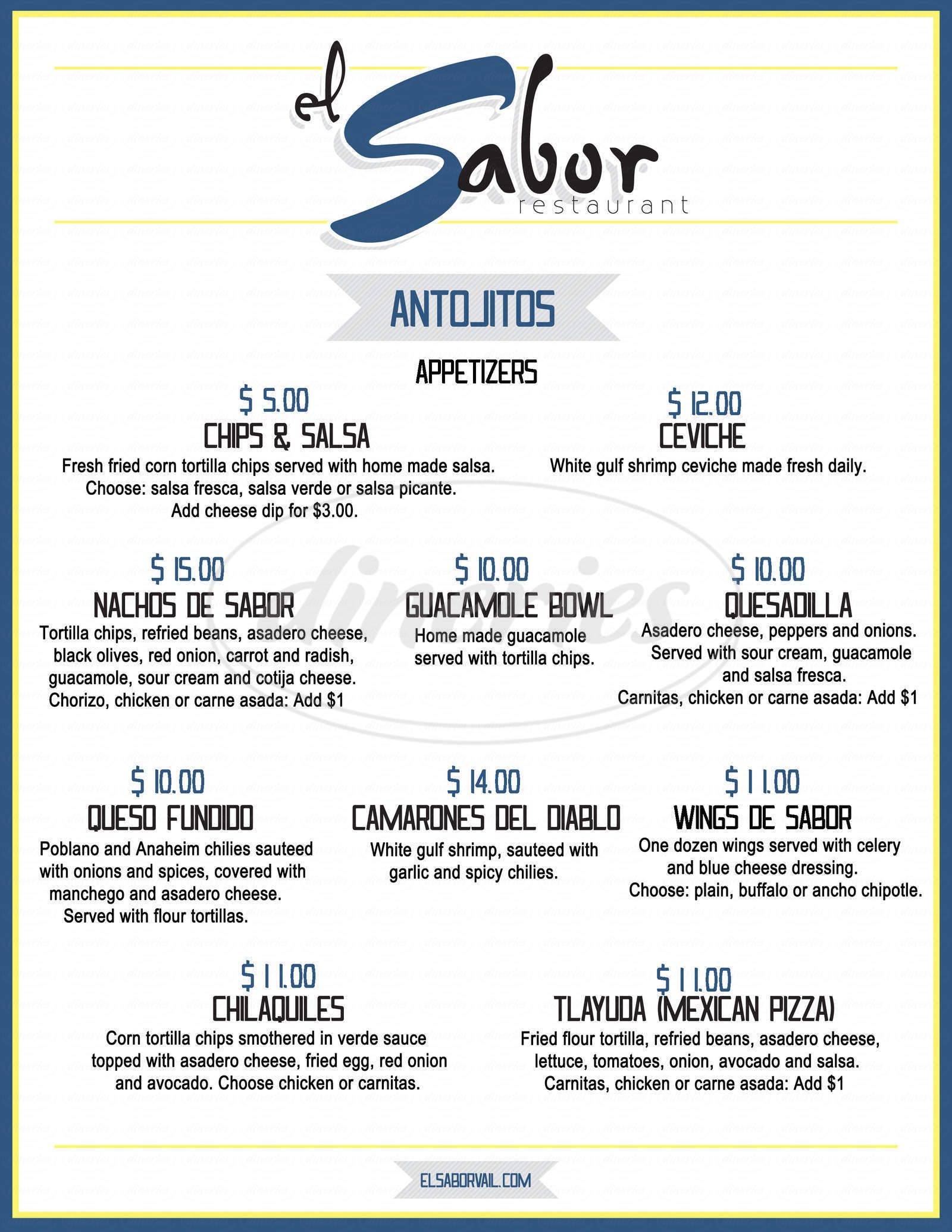 menu for El Sabor