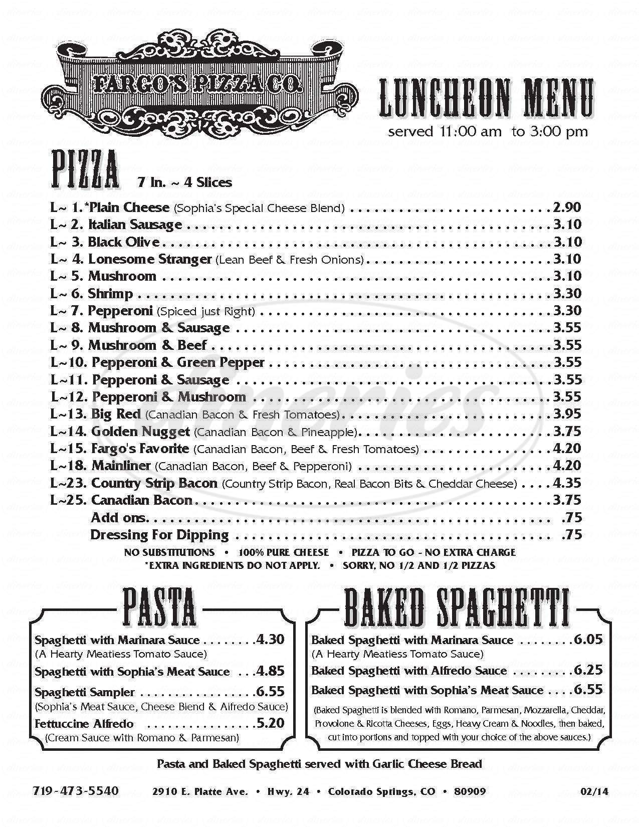 menu for Fargo's Pizza Co