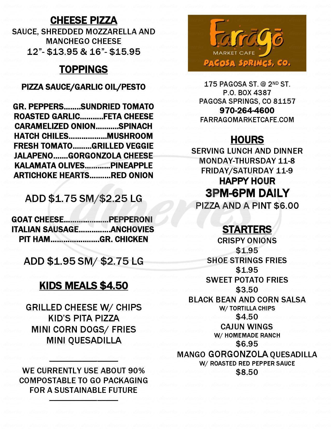 menu for Farrago Market Cafe
