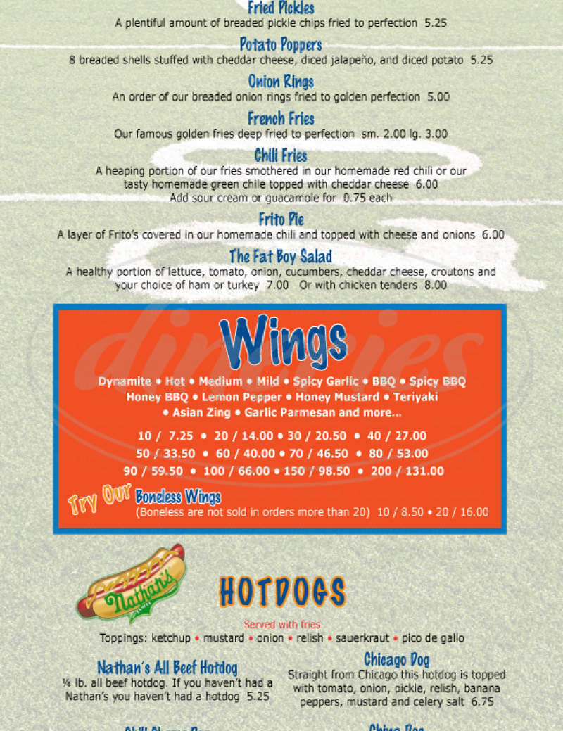 menu for Fat Brothers Burgers & Wings