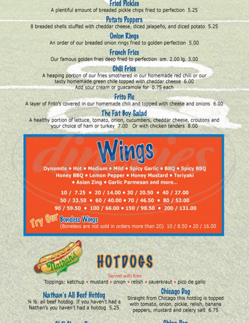 menu for Fat Brothers Burgers & Wings