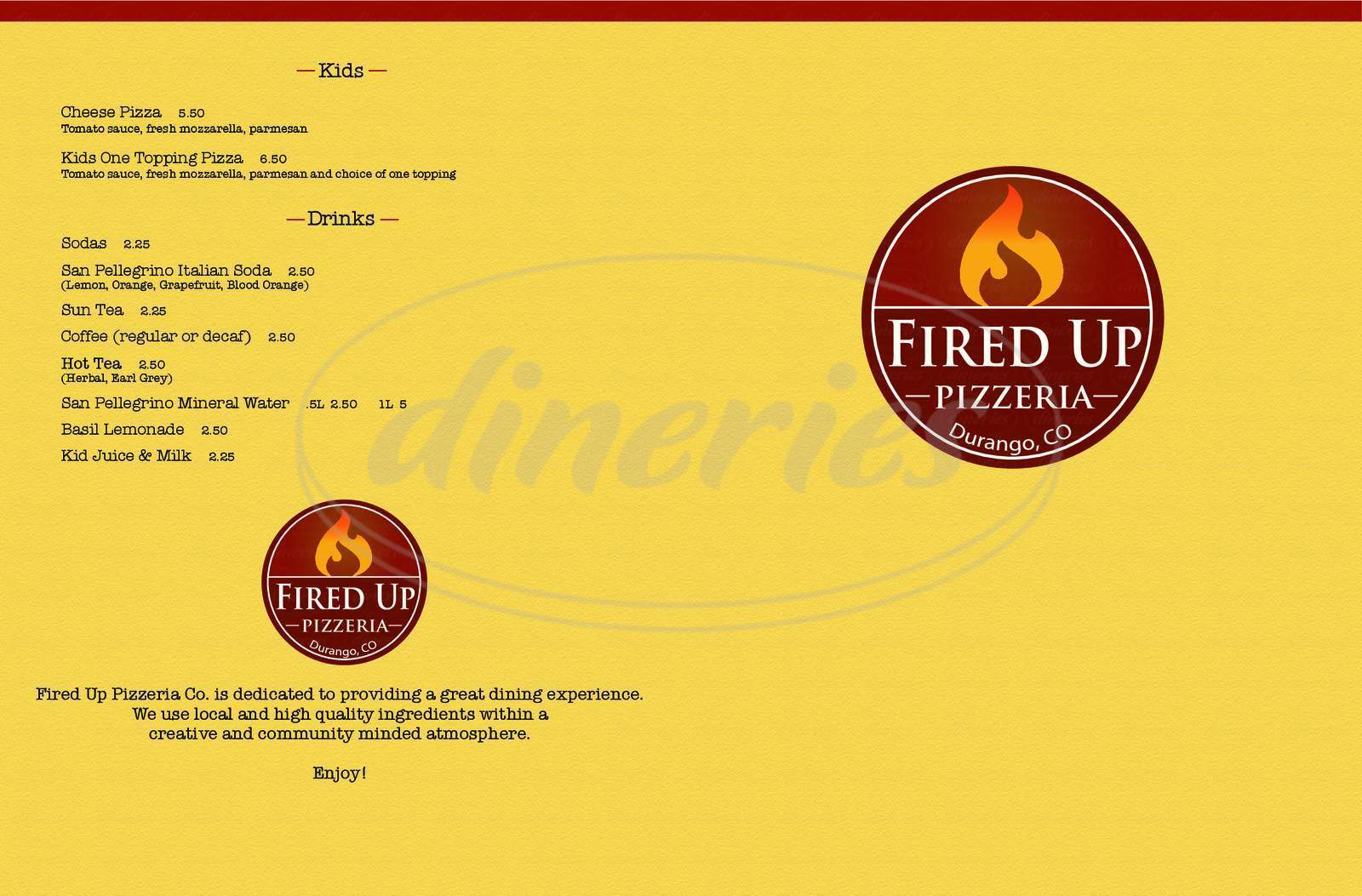 menu for Fired Up Pizzeria
