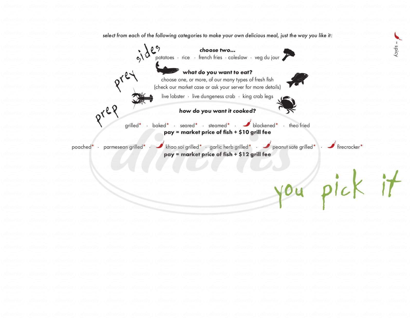 menu for Fish