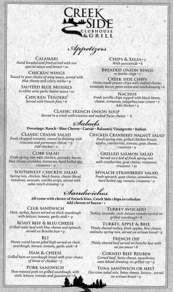 menu for Gypsum Creek Grill