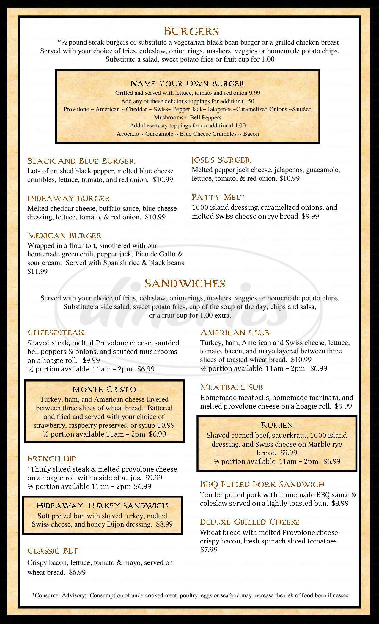 menu for Hideaway Bar & Grill