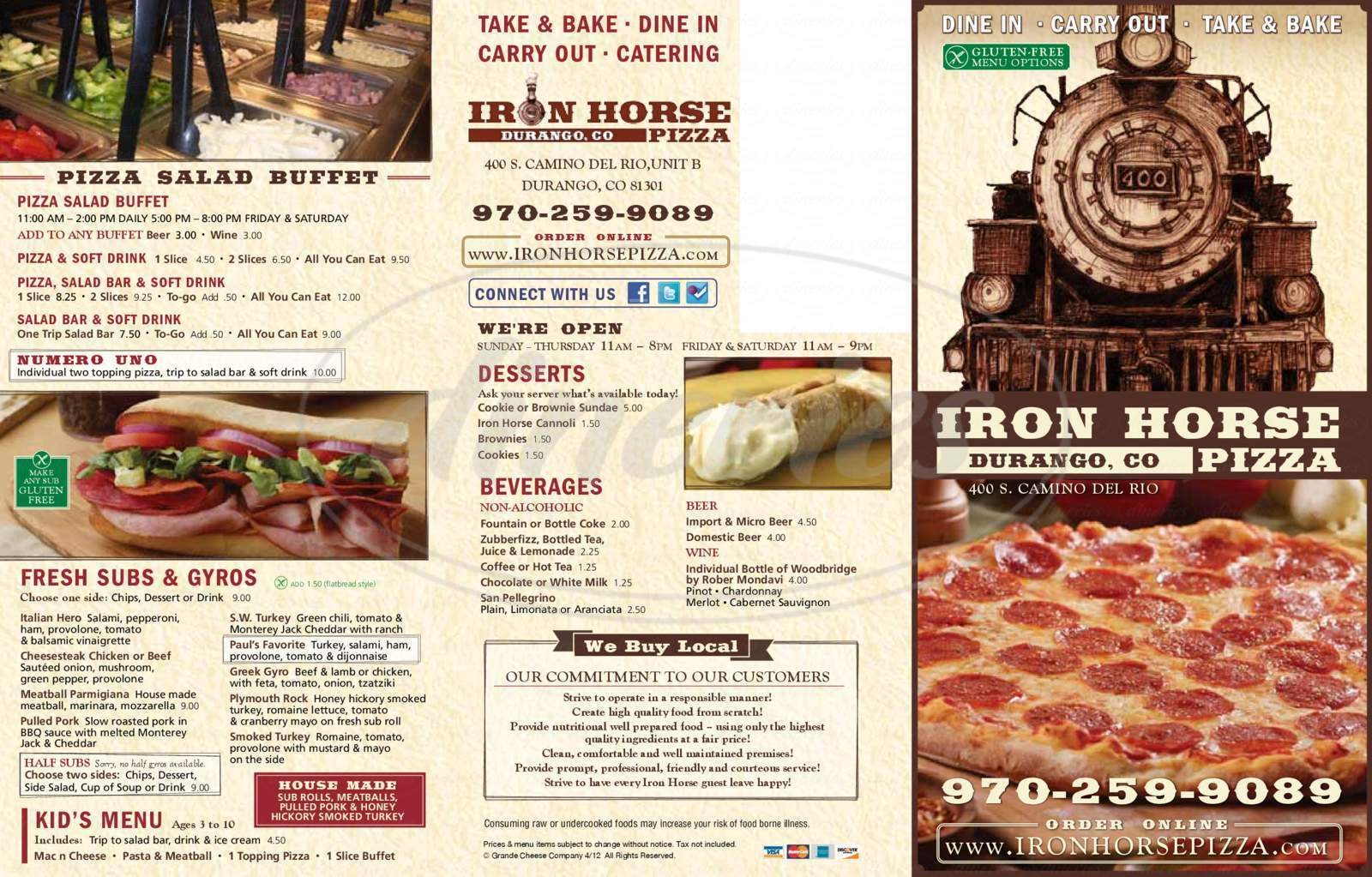menu for Iron Horse Pizza
