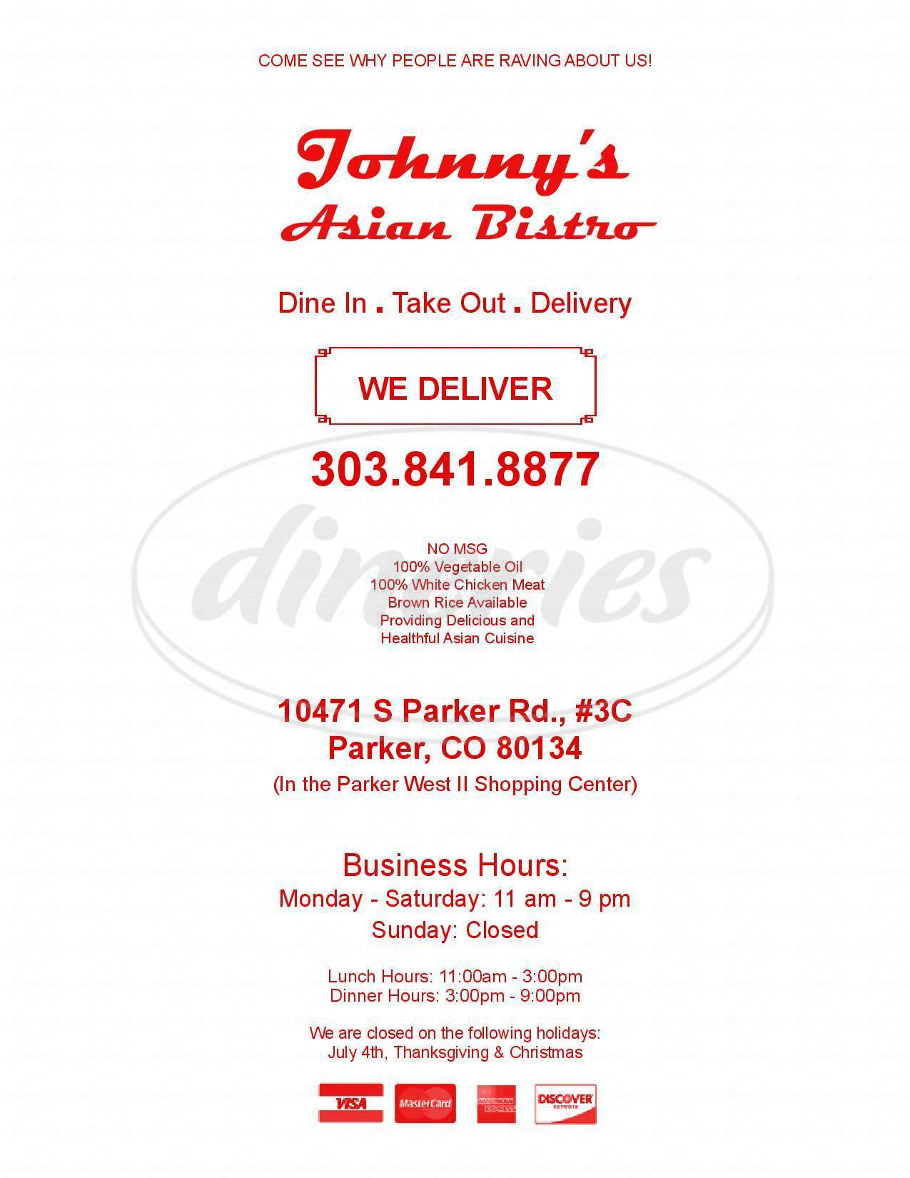 menu for Johnny's Asian Bistro