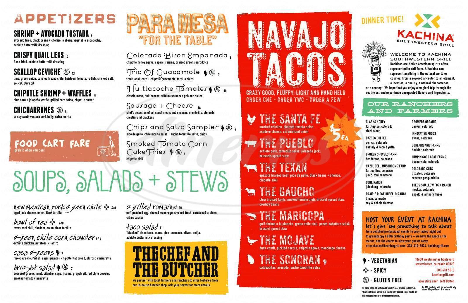 menu for Kachina Southwestern Grill