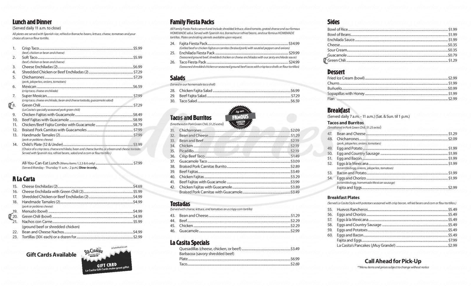 menu for La Casita Mexican Grill