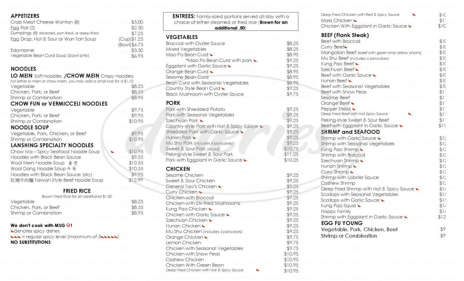 menu for Las Palapa