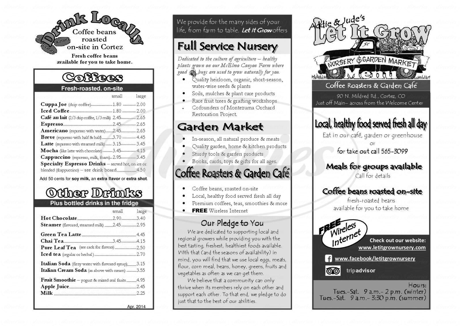 menu for Let It Grow Nursery