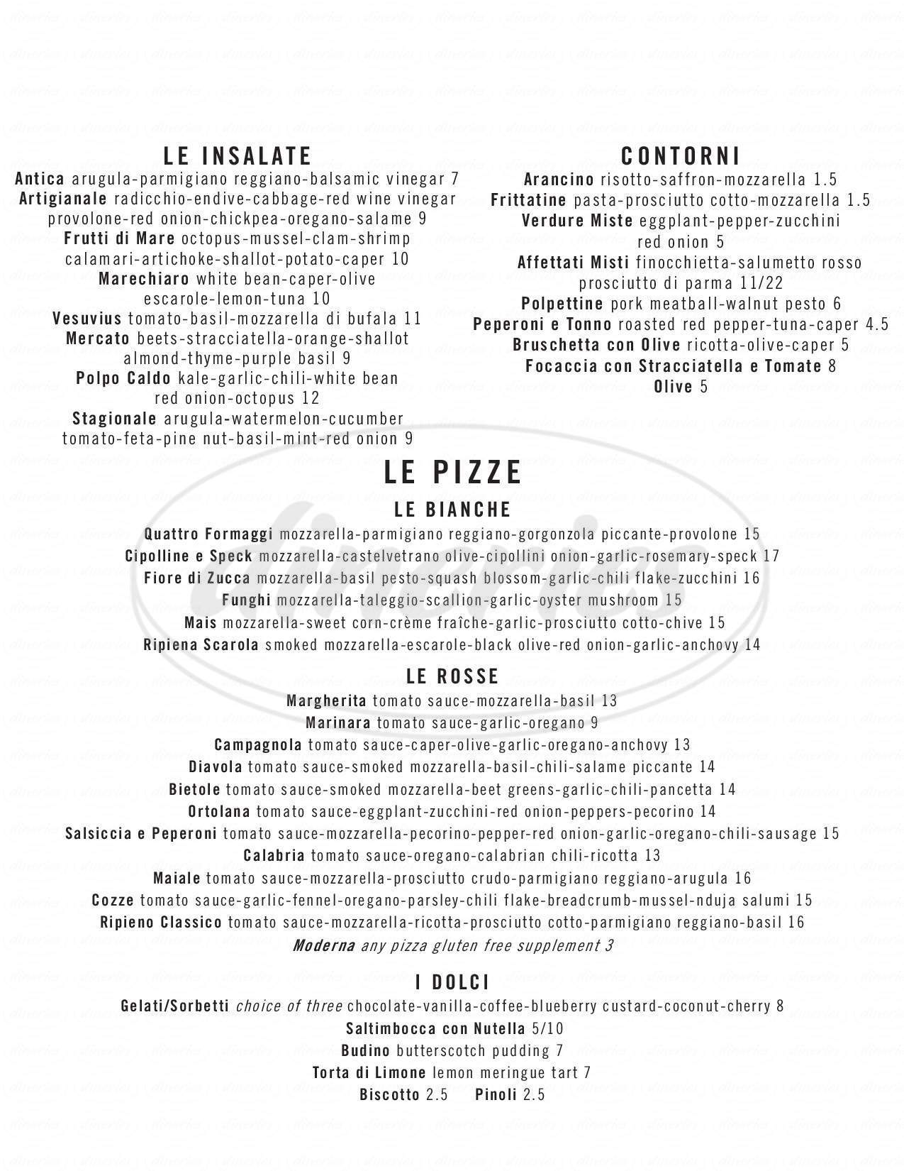 menu for Pizzeria Locale