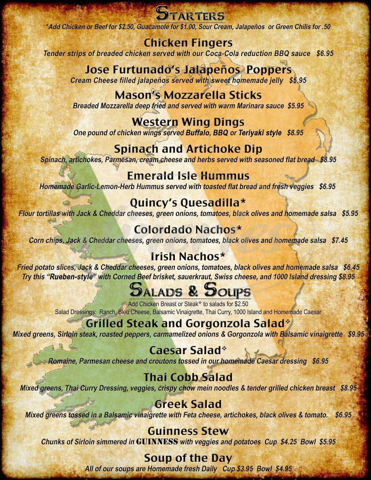 menu for Lucky Joe's Sidewalk Saloon