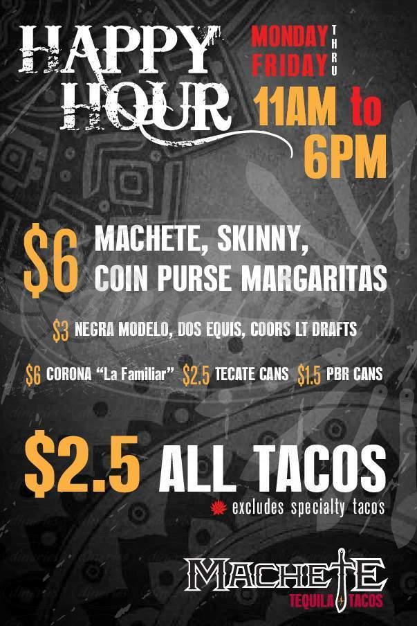 menu for Machete Tequila + Tacos