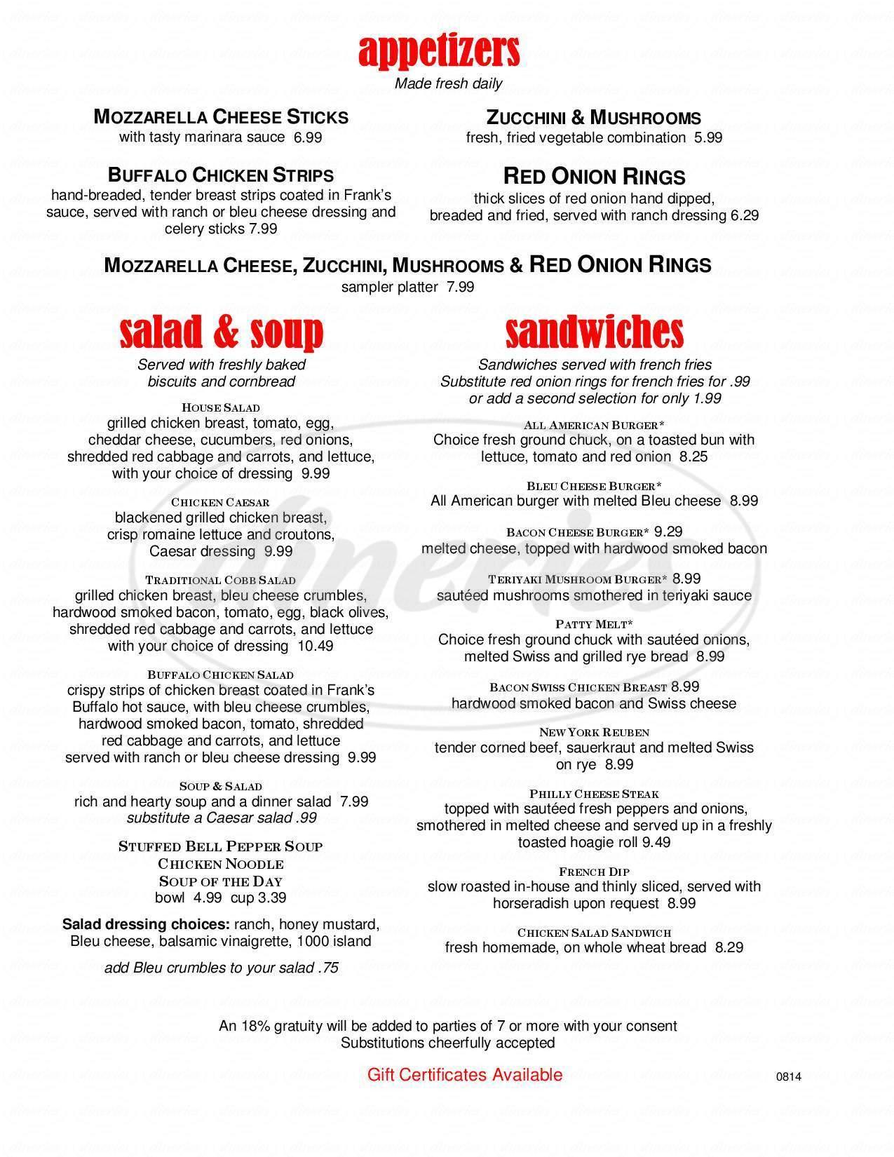 menu for The Mason Jar