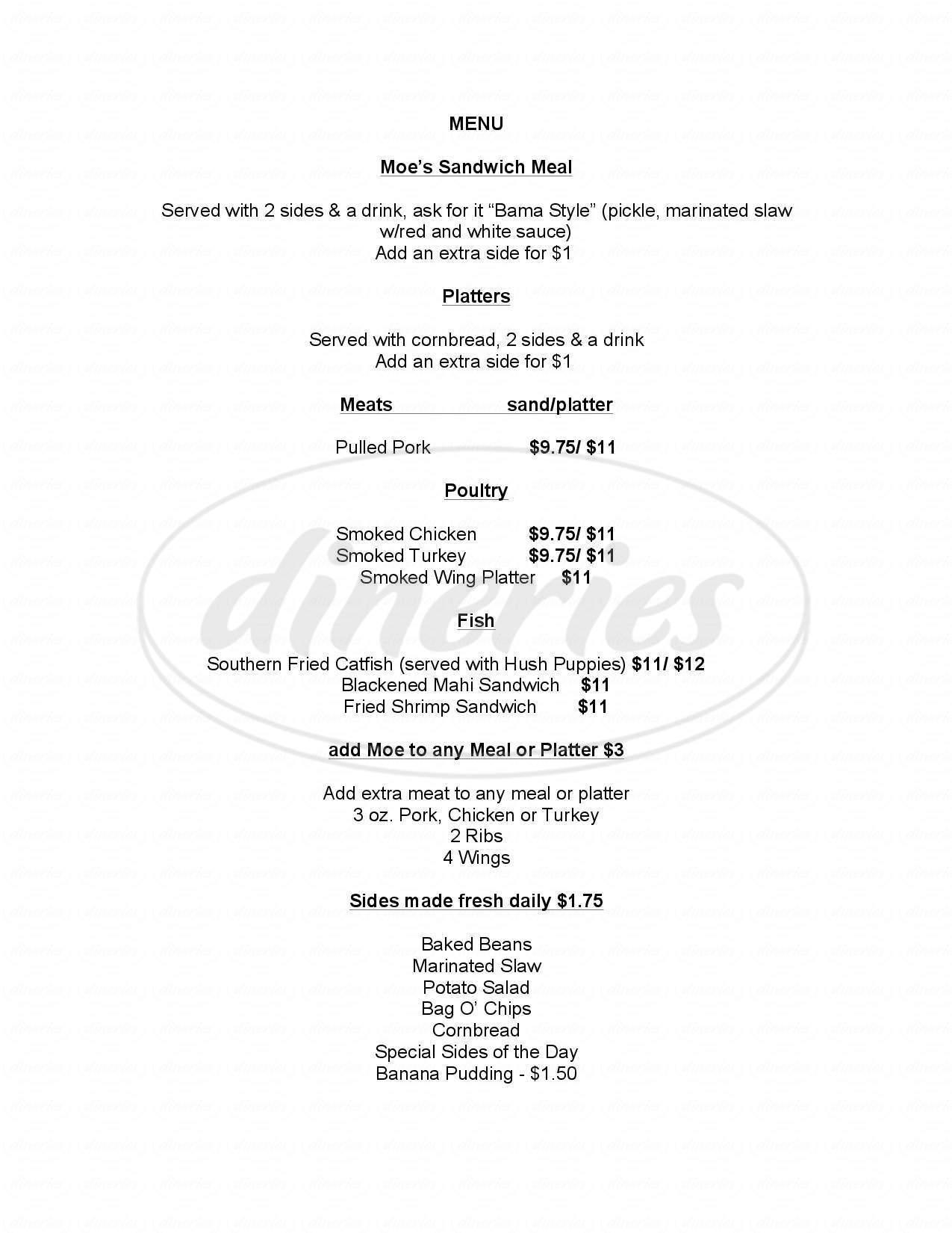 menu for Moe's Original Bar B Que