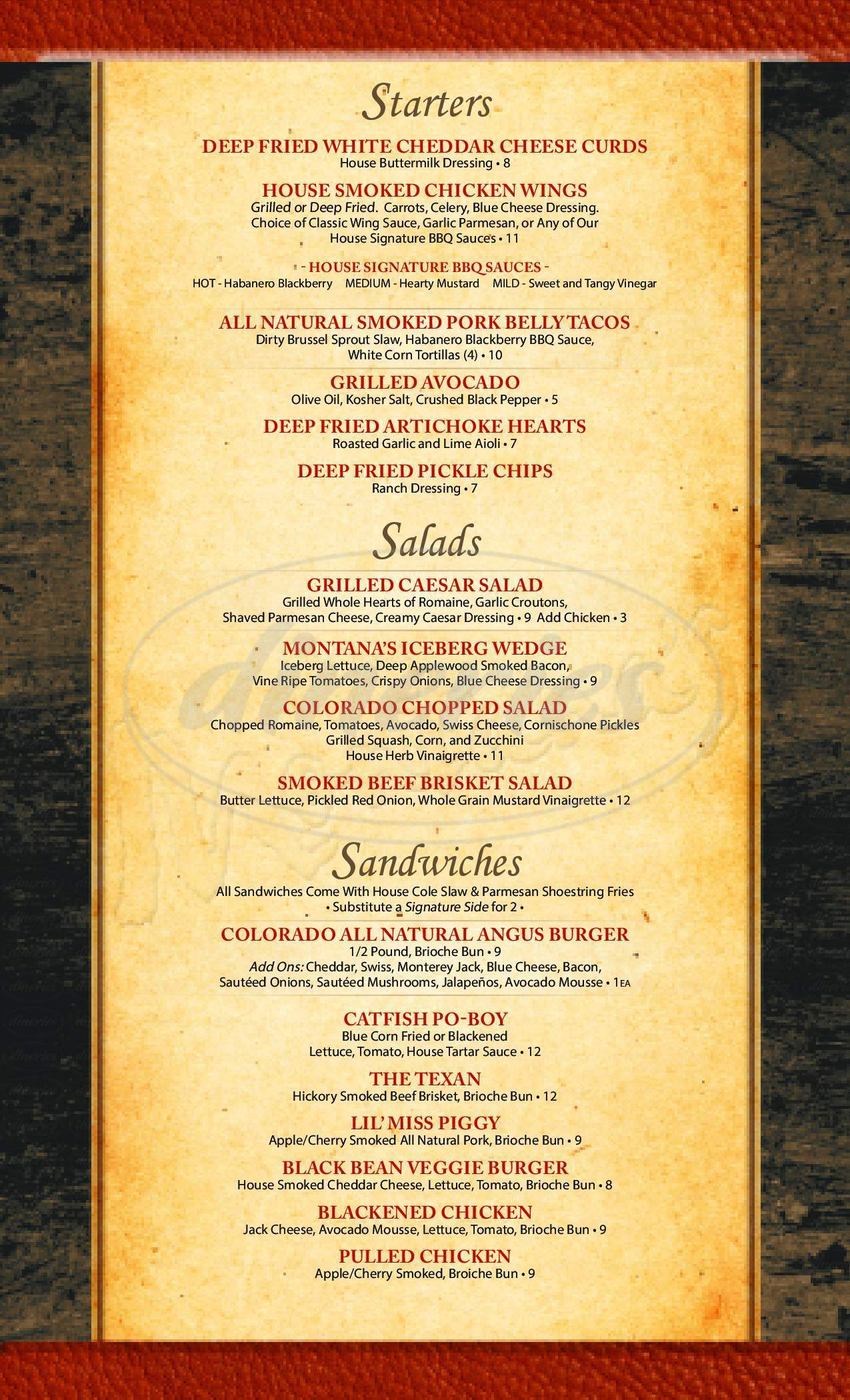 menu for Montana's Smokehouse