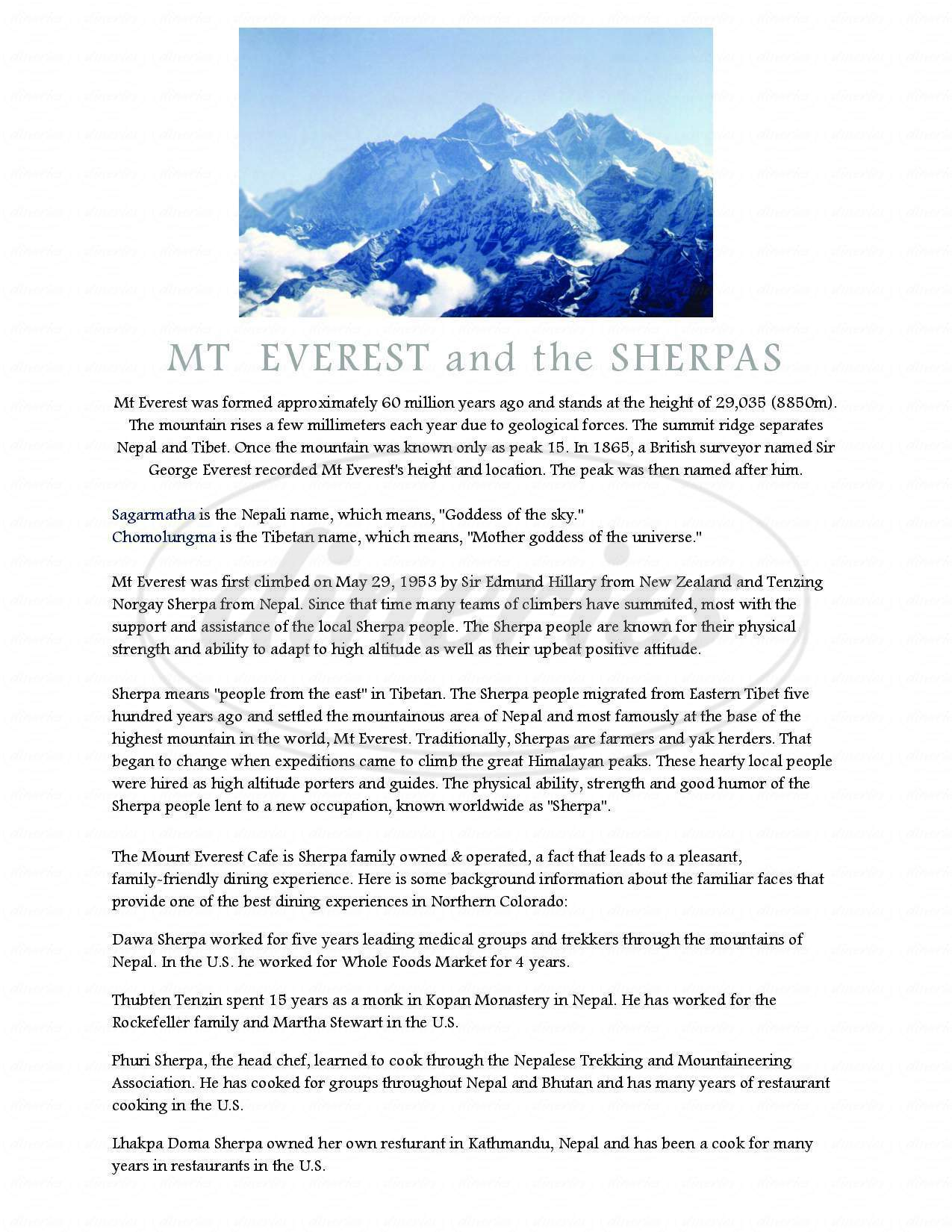 menu for Mount Everest Cafe