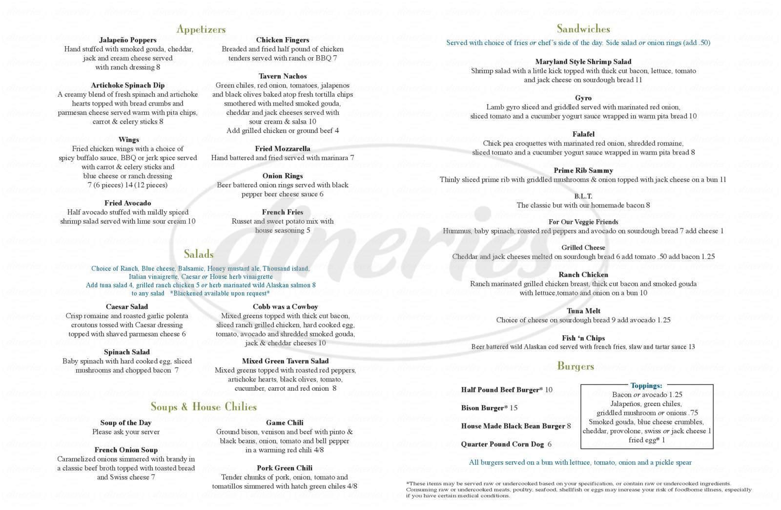 menu for Murphy's Tavern