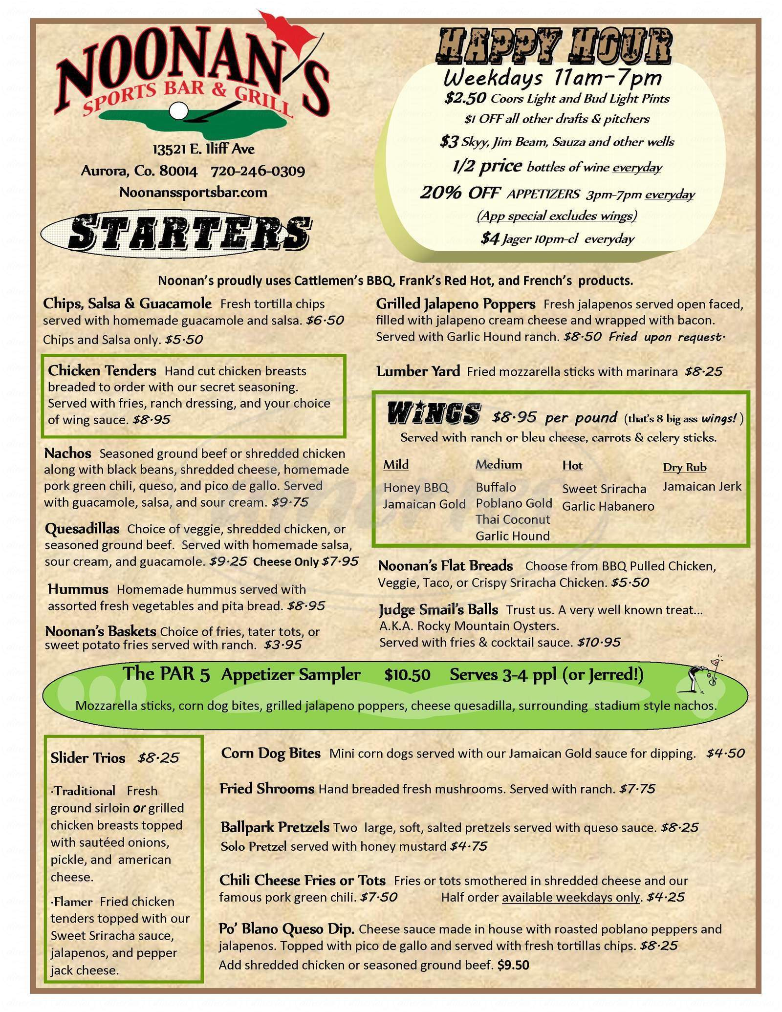 menu for Noonan's Sports Bar & Grill