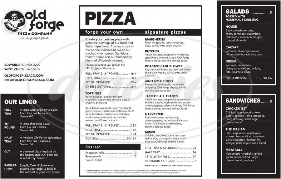 menu for Old Forge Pizza Company