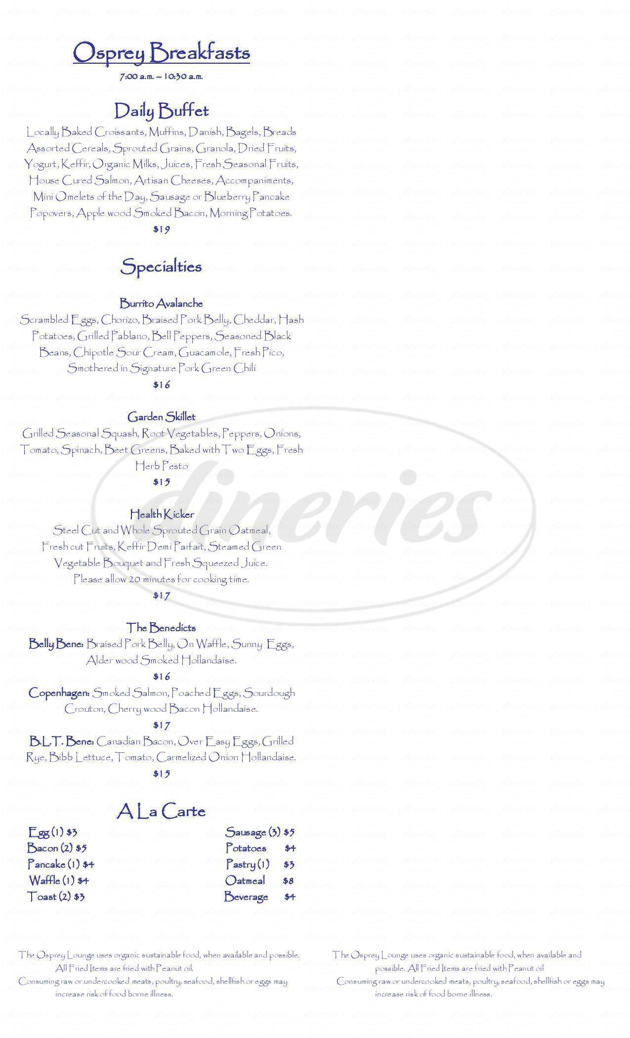 menu for The Osprey Lounge