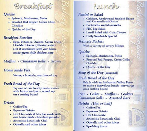 menu for Pagosa Baking Co