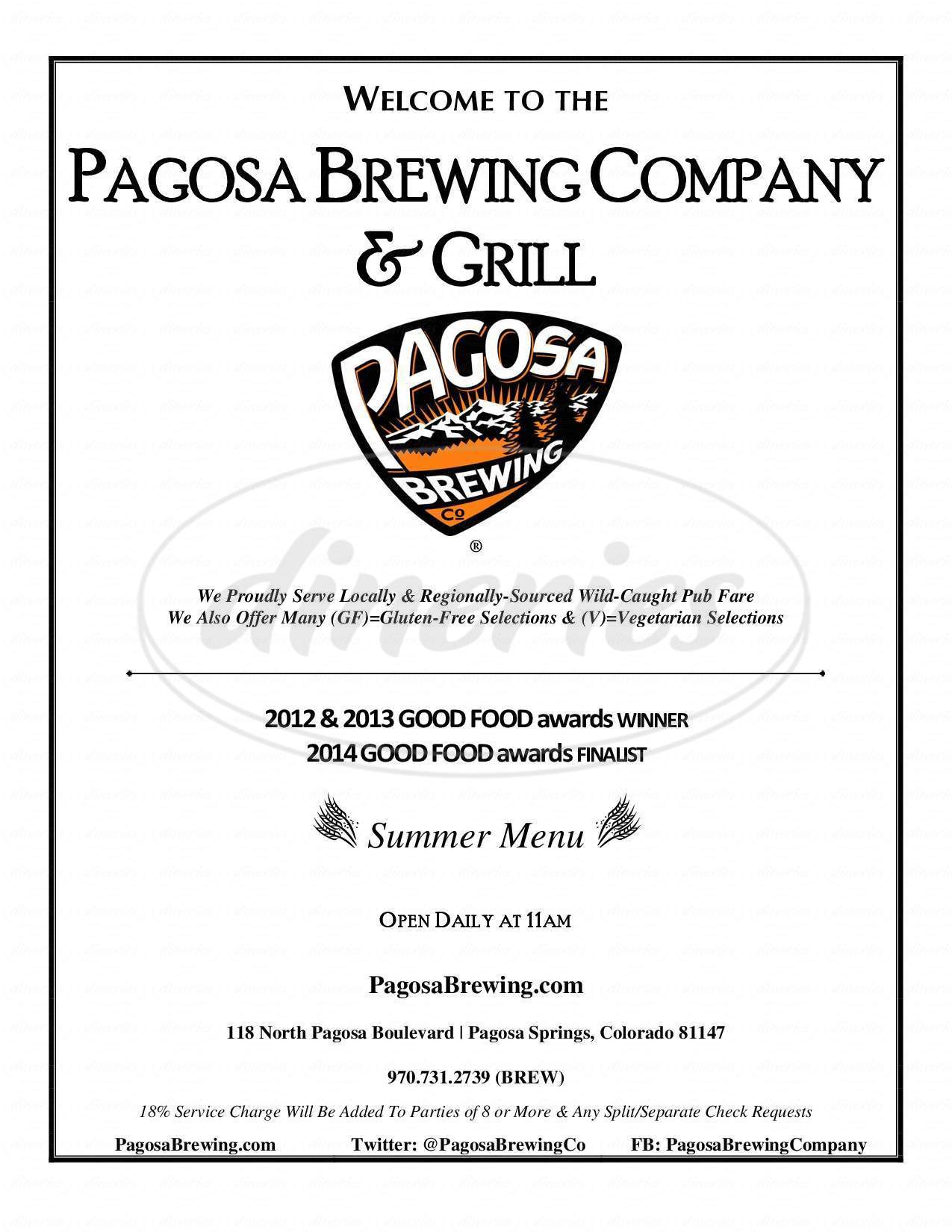 menu for Pagosa Brewing Co.