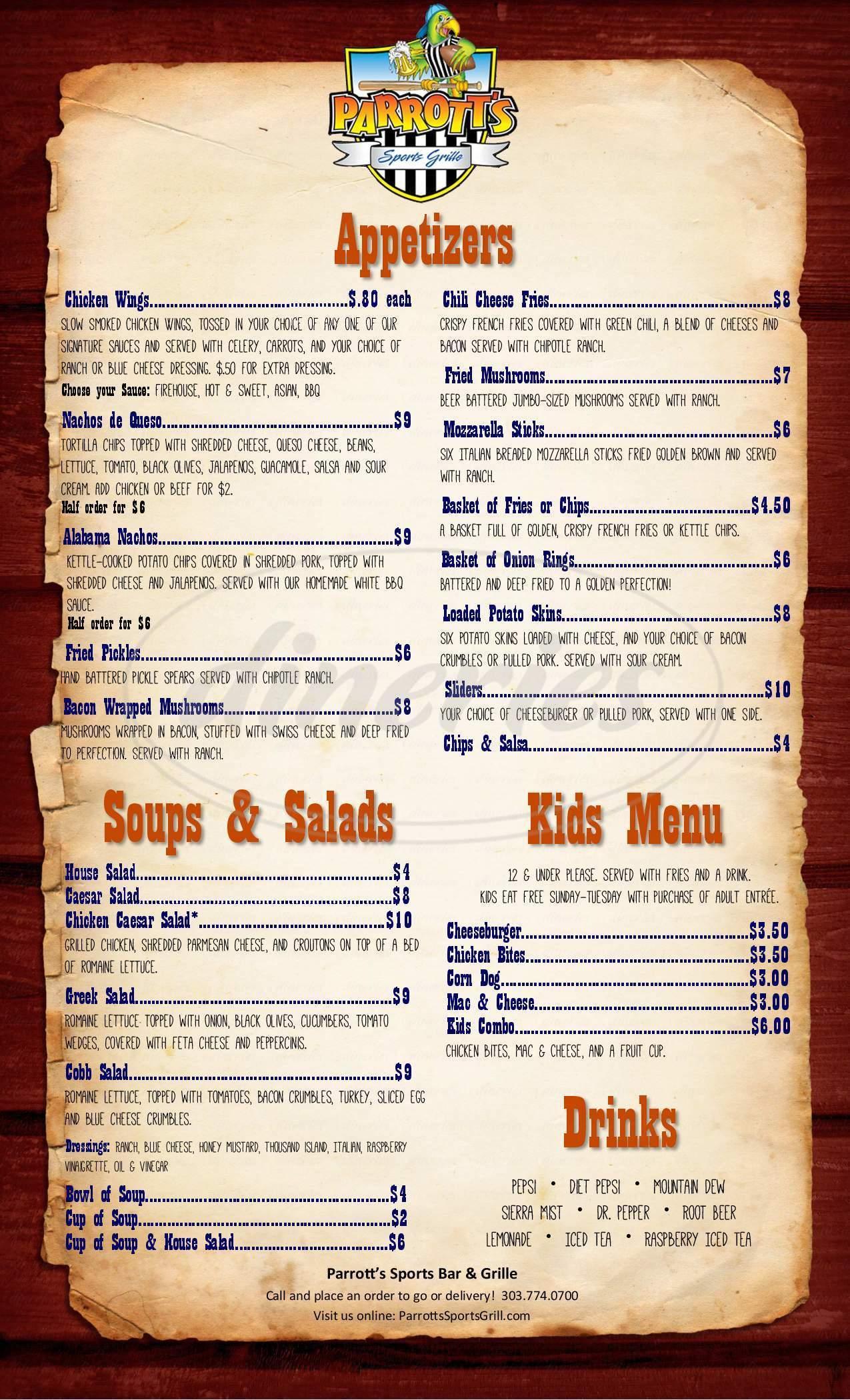 menu for Parrott's Sports Grill