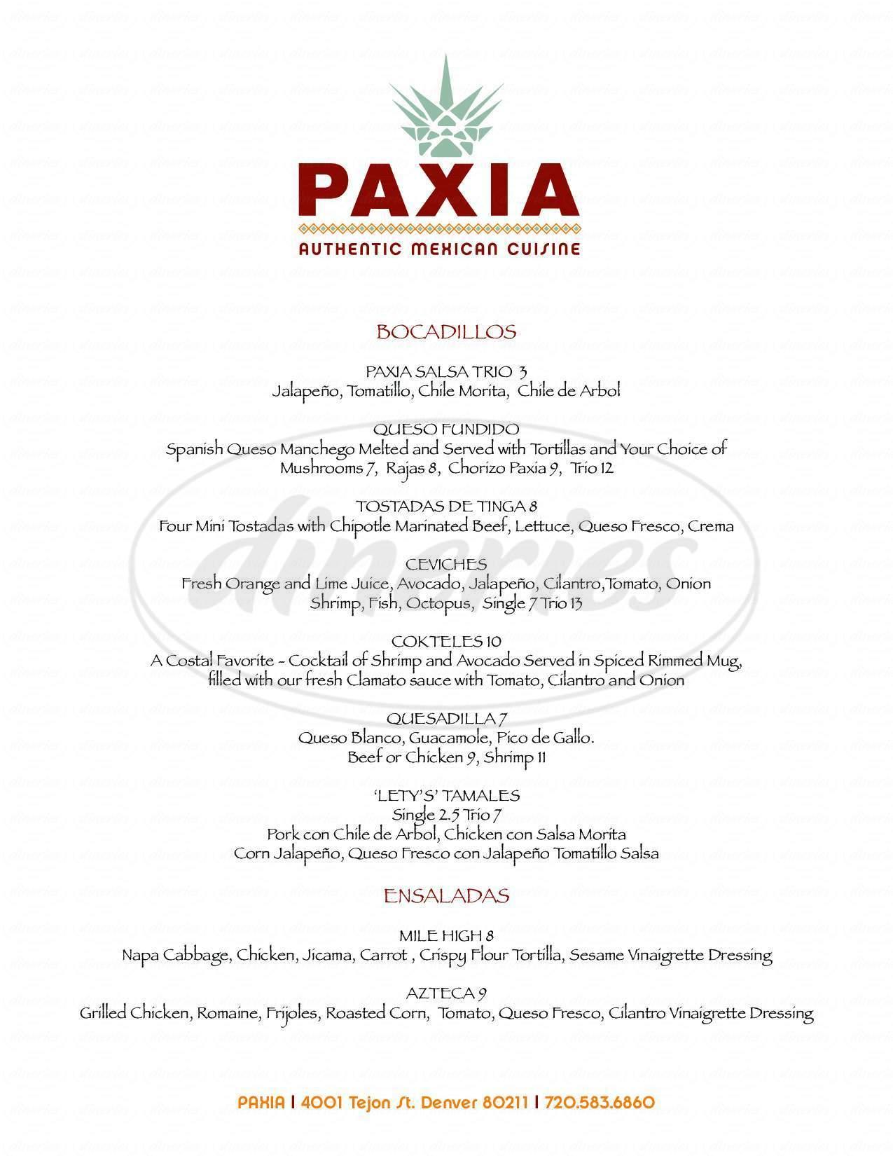 menu for Paxia - Alta Cocina Mexicana