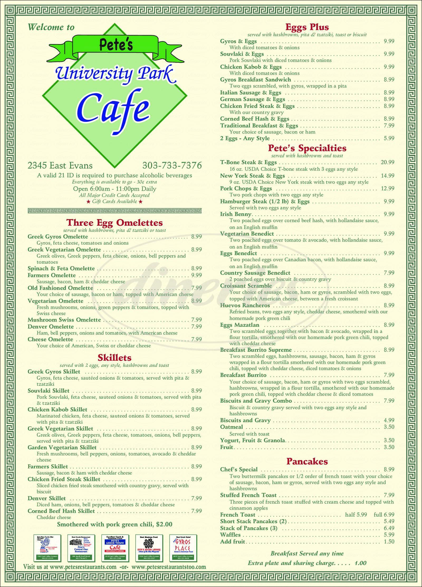 menu for Pete's University Park Cafe