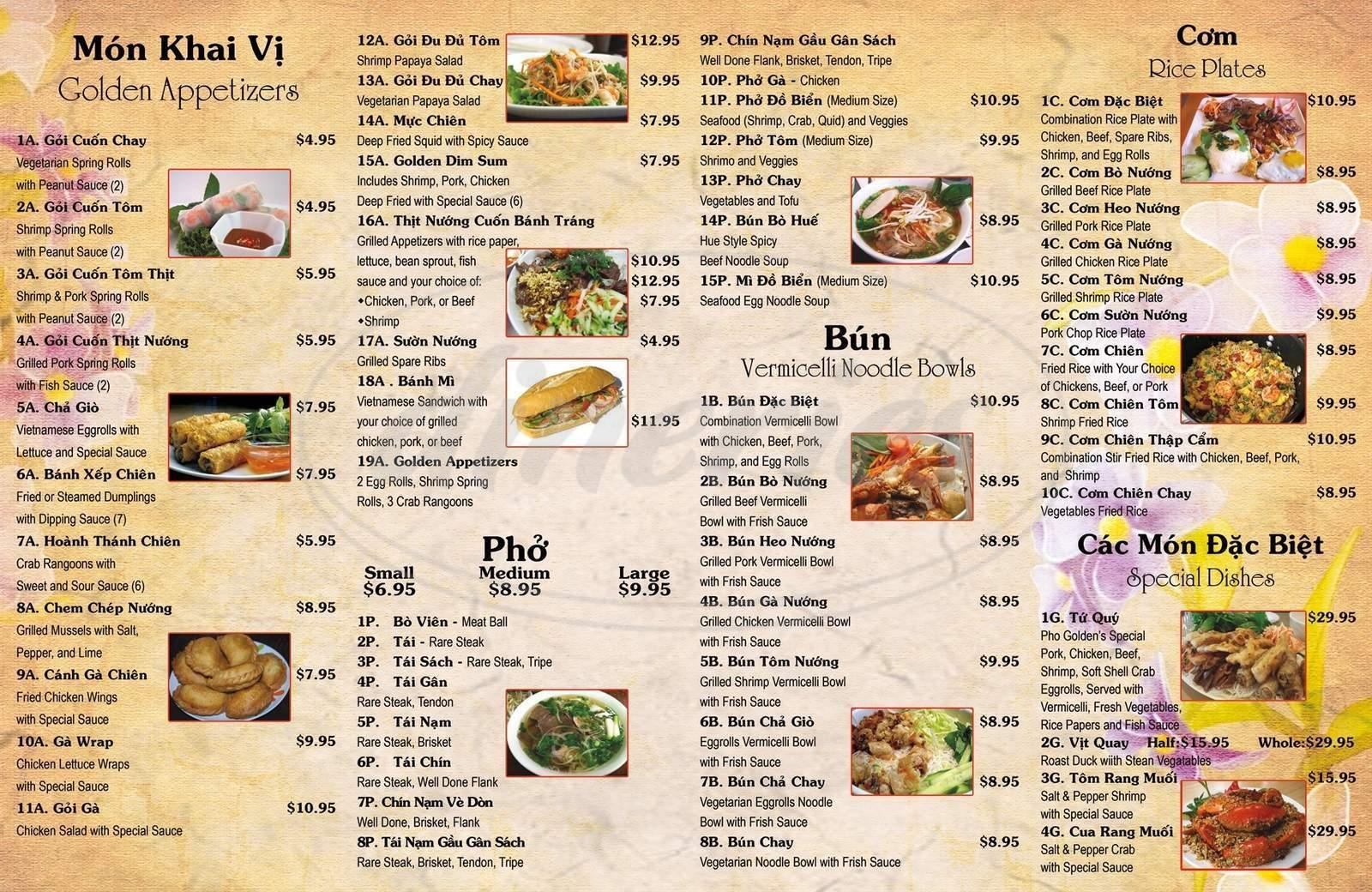 menu for Pho Golden