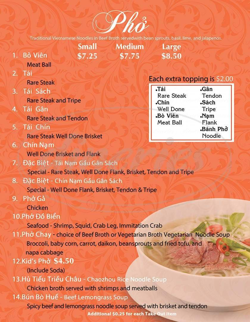 menu for Pho Khang - Vietnamese Noodles, Bar and Grill