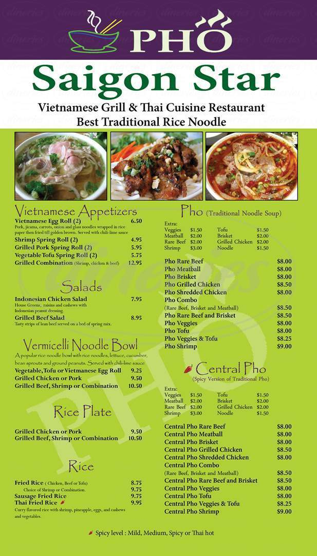 menu for Pho Saigon Star