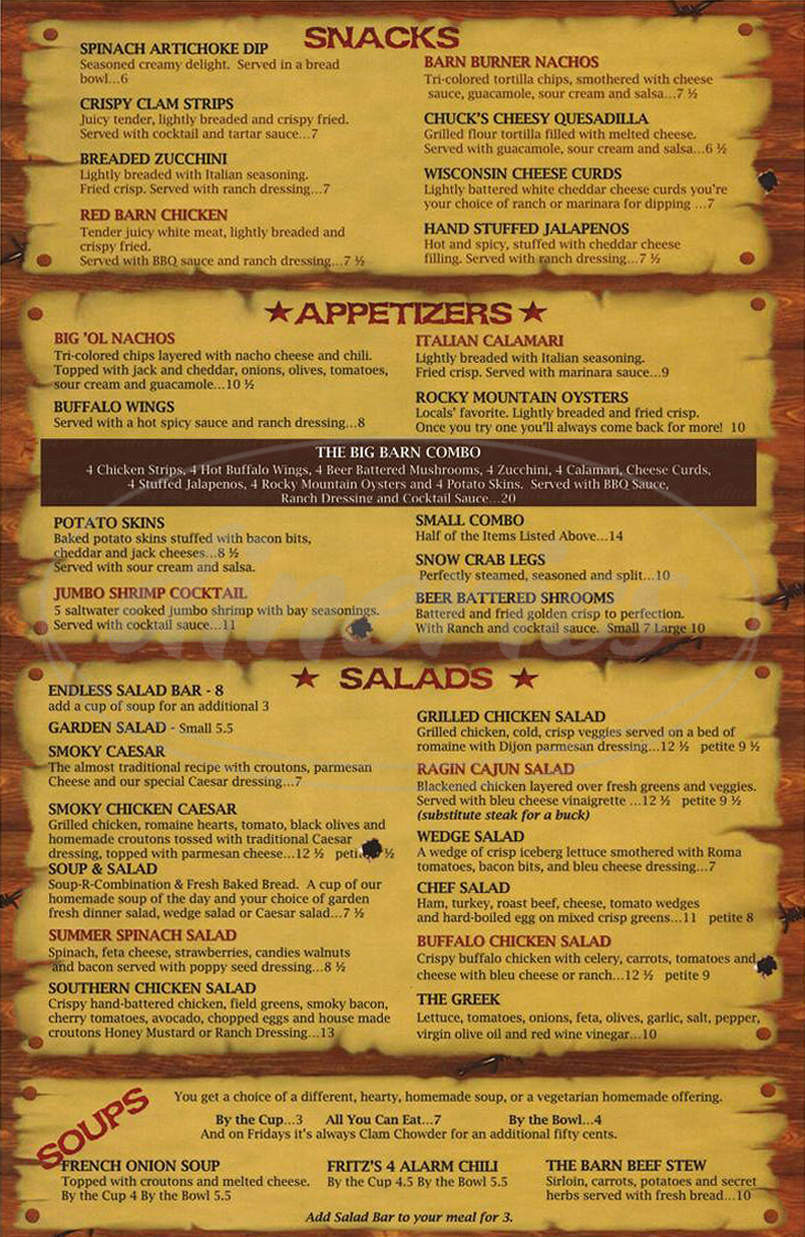 menu for Red Barn Restaurant & Lounge